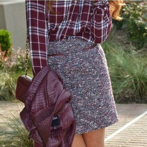 LOFT Burgundy Tweed Boucle Mini Skirt Size 0